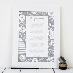 'A Letter To Grandmother' Poem Print - gifts for grandmothers