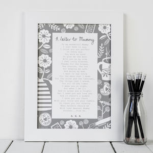 'A Letter To Mummy' Poem Print - posters & prints