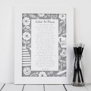 'A Letter To Mum' Poem Print - gifts for mothers