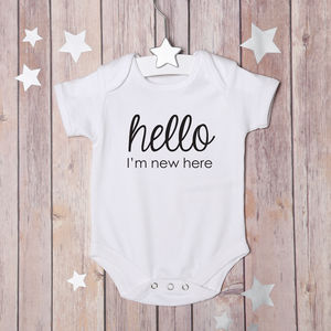 'Hello, I'm New Here' Bodysuit - baby shower gifts & ideas