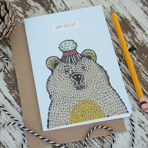 'Happy Bear Day' Greetings Card