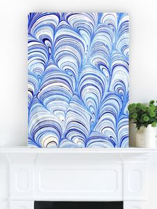 Rock Pools, Blue Abstract Canvas Art - modern & abstract