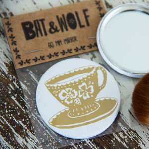Illustrated Tea Cup Pocket Mirror - compact mirrors