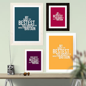 'The Bestest Taxi Driver' Print - gifts under £15