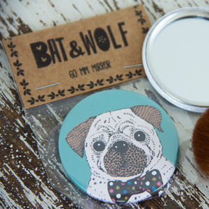 Illustrated Pug Pocket Mirror - compact mirrors