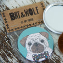 Illustrated Pug Pocket Mirror