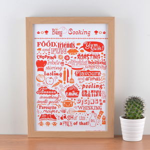 'Busy Cooking' Typographic Art Print - prints & art sale