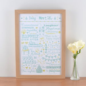 'Being Mrs And Mrs' Typographic Art Print - wedding gifts sale