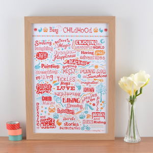 'Busy Childhood' Typographic Art Print - posters & prints for children