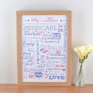 'Being A Mum' Typographic Art Print