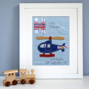Personalised Boy's Alphabet Picture, Framed