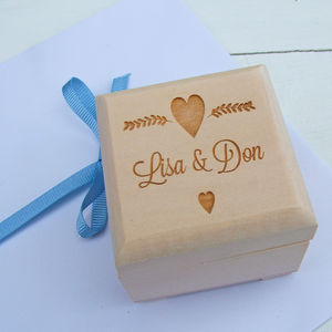 Personalised Heart Ring Box - boxes, trunks & crates