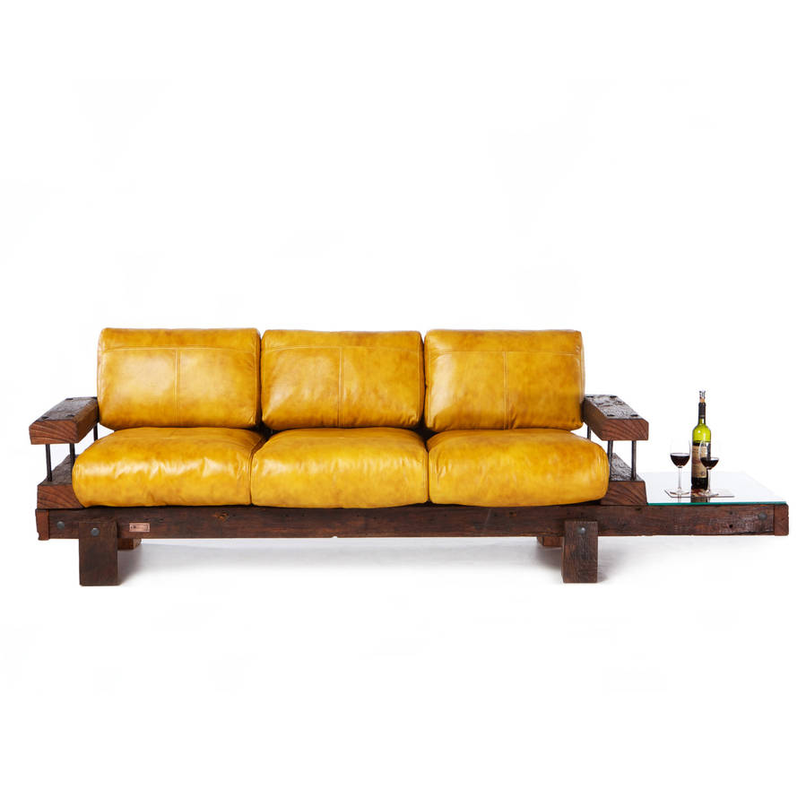 High Quality Derby Reclaimed Oak And Leather Sofa