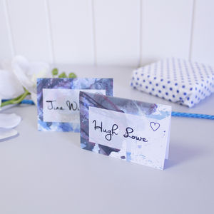 Personalised Blue Inky Floral Wedding Place Cards - wedding stationery
