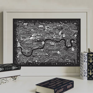 Typographic Map Of Literary London Print - typography