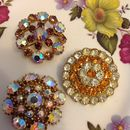 Vintage Circular Wreath Diamanté Brooches
