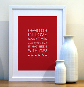'In Love Many Times' Personalised Print