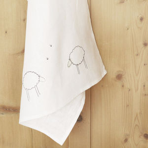 Embroidered Linen Sheep Tea Towel - kitchen accessories