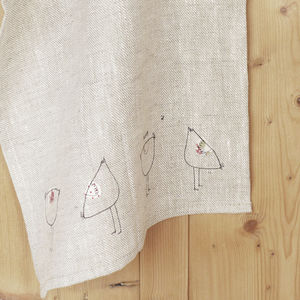 Embroidered Natural Linen Hens Tea Towel