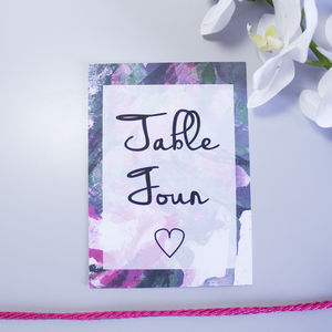 Personalised Pink Inky Wedding Table Number Cards