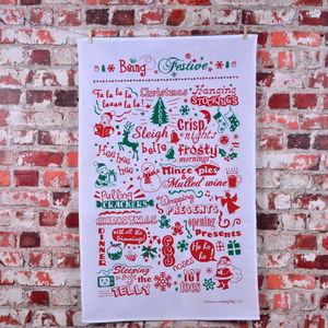 'Being Festive' Tea Towel