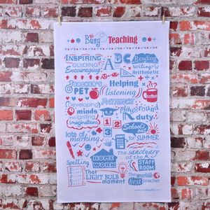 'Busy Teaching' Tea Towel