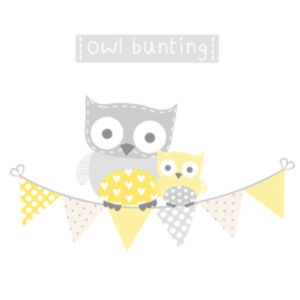 Yellow And Grey Owl Bunting Fabric Wall Stickers