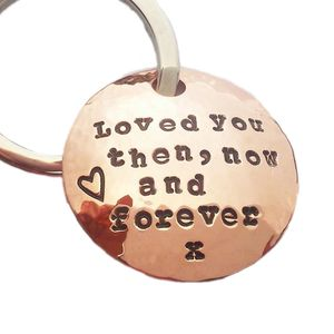 Personalised Handmade Round Copper Keyring