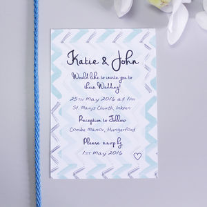 Mint Chevron Pattern Wedding Invitation - wedding stationery