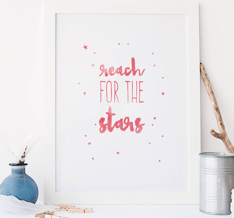 reach for the stars typography wall art by rory & the bean ...