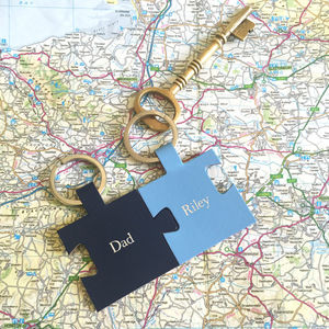 Personalised Father's Day Pair Of Keyrings In Blue