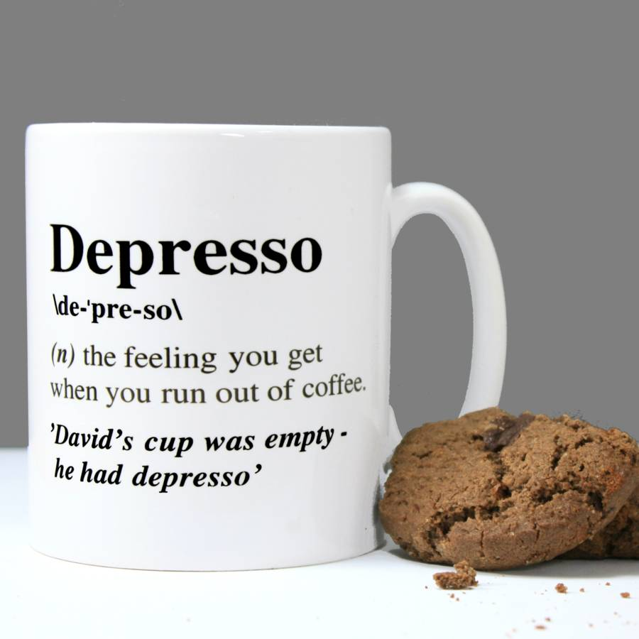 personalised 39 depresso 39 mug by betsy jarvis. Black Bedroom Furniture Sets. Home Design Ideas