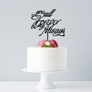 Elegant Personalised Song Lyrics Wedding Cake Topper
