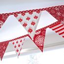 Christmas Mini Bunting In Scandinavian Red And White