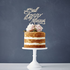 Elegant Personalised Song Lyrics Wooden Cake Topper