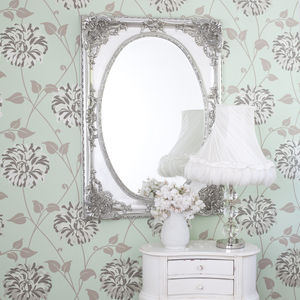 Silver Ornate Oval Shaped Mirror - mirrors