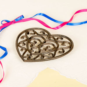 6th Anniversary Cast Iron Heart Trivet - kitchen accessories