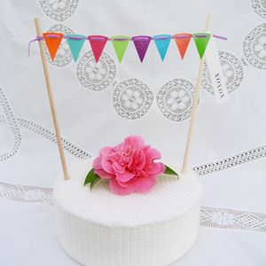 Glitter Cake Bunting With Greeting Label ~ Options - cake decoration