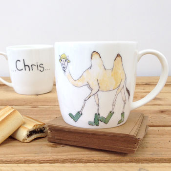 Camel Wearing Wellies Personalised Ceramic Mug