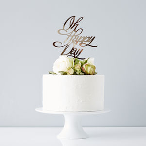Elegant 'Oh Happy Day' Wedding Cake Topper - cake toppers & decorations