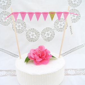 Gold Accent Glitter Cake Bunting With Greeting Label - cake decoration