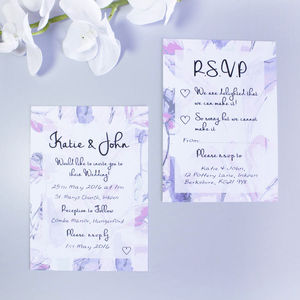 Pink Butterfly Floral Wedding Invitation - invitations