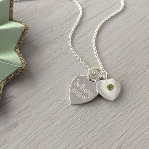 August Birthstone Personalised Sterling Silver Necklace - necklaces & pendants