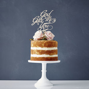 Elegant 'God Gave Me You' Wooden Wedding Cake Topper