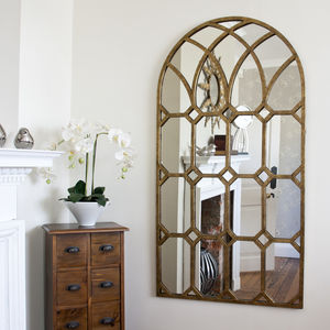 'Rustic' Gold Metal Window Mirror - mirrors