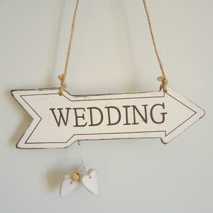 Wooden Wedding Arrow Sign