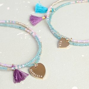 Personalised Bead And Tassel Bracelet With Heart - bracelets & bangles