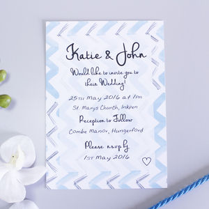 Blue Chevron Pattern Wedding Invitation