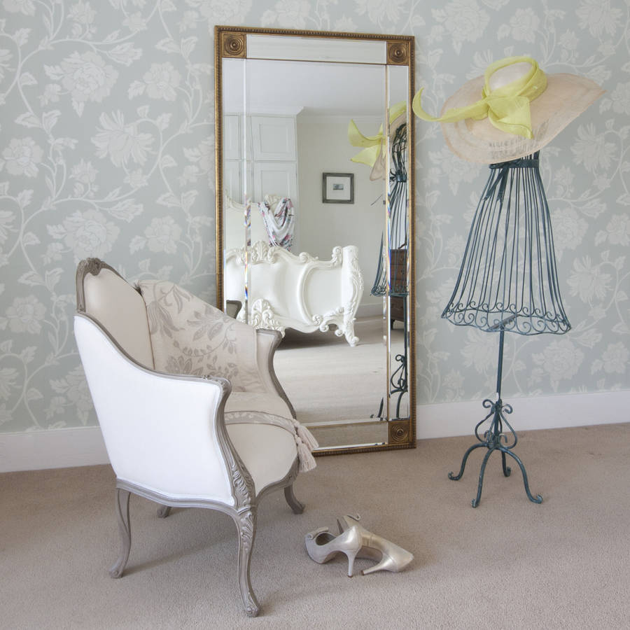 Bevelled gold full length mirror by decorative mirrors for Decorative full length wall mirrors