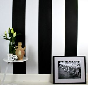 Black And White Stripes Wallpaper - bedroom